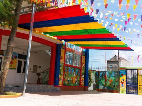 Mái Xếp Bạt Kéo Di Động Che Sân Trường Tại Biên Hòa Đồng Nai, Mái Che Sân Trường